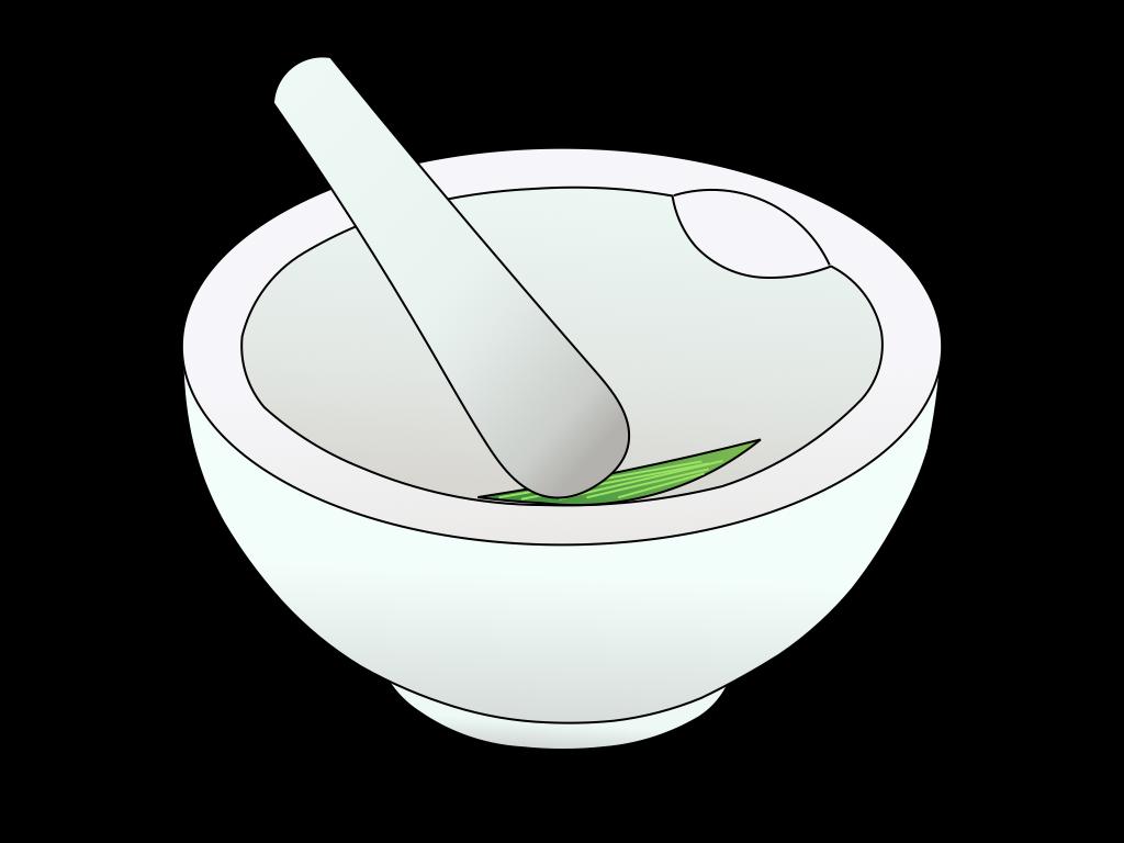 乳鉢と単子葉類のフリーイラスト画像